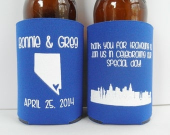 Personalized City and State Skyline Wedding Can Coolers, Wedding Favors, Beverage Insulators - Available in Any State, Las Vegas