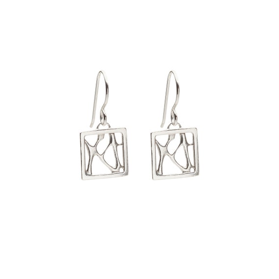Sterling Silver Small Cactus Earrings, Prickly Pear Cactus Jewelry, Desert Botanical Earrings, Framed Cactus Earrings, Square Earrings