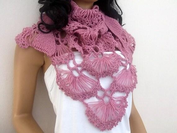 Oyster shawl-Rose color Triangle oyster mini Shawl- Cilium Shawl