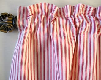 Curtain, Valance, Cafe, Window Curtain, Red Woven Cotton Ticking Stripe Curtain Valance or Cafe 50 x 16, 24, 36, 48