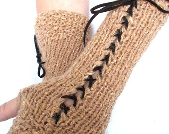 Fingerless Gloves Long  Texting gloves in Light Brown  with Brown Suede Ribbons Victorian Style