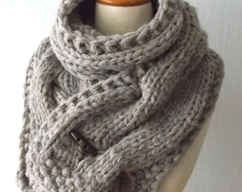 Chunky Scarf Handknit Big Cowl Extra Thick Cabled Soft  in Light Brown Winter Accessory Men Women Unisex
