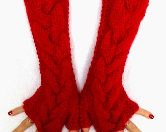 Angora Mohair Fingerless Gloves/ Mittens Red Cabled Hand Knitted Extra Soft and Long