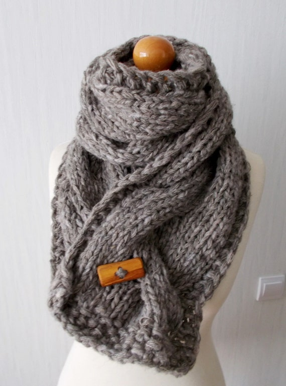 Hand Knit Cowl Extra Thick Cabled Natural Greyish Brown Wool Alpaca