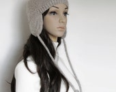 Gray Leaf Ear Flap Hat, Autumn Winter Fashion Accessories