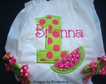 PERSONALIZED 1ST BIRTHDAY Diaper Cover Bloomers - Watermelon Birthday - Appliqued Number One with Watermelon Slice in Fushia and Lime Green