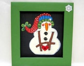 Folk Art Funky Snowman with, Large Arms holding a Heart or Holly Button, Tole Painted, Framed in Reclaimed Wood Frame in Green or Red,Winter