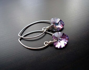 Crystal Earrings, Swarovski Crystal, Crystal Hearts, Lt. Vitrail, Lavendar, Sterling Silver