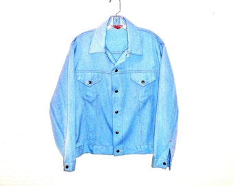 Vintage 1970's Sears Poly/Cotton Cropped Denim Jacket in Pale Blue Men's Large
