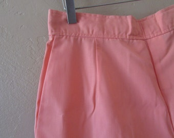 up cycled high waist vintage 80s 1980s peach coral cotton preppy kitsch hipster vintage womens short fun office summer shorts - large L