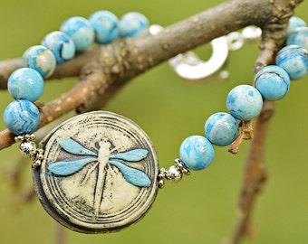 Blue Dragonfly Signed Organic Bangle Bracelet OOAK