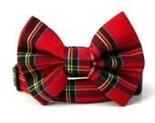 Red Plaid Bow Tie Dog Collar - Scottie Plaid - Black Hardware