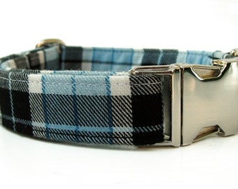 Blue and Black Plaid Dog Collar with Nickel Plate Hardware