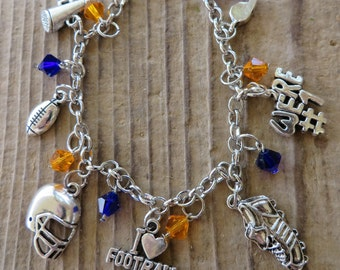 I Love Football Customizable Silver Charm and Crystal Bracelet