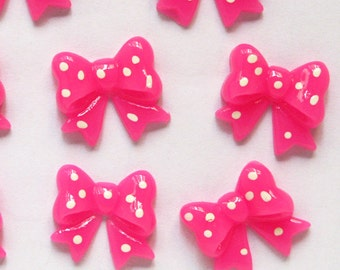 8pcs of  Ribbon Bow Lucite Cabochons, Hot Pink