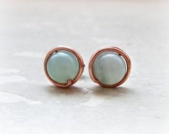 Copper Post Earrings, Amazonite Stud Earrings, Aqua Post Earrings, Wire Wrap Earrings, Seafoam Studs, Gemstone Posts, Natural Stone Studs