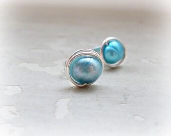 Teal Pearl Stud Earrings, Sterling Stud Earrings, Blue Post Earrings,Sterling Wire Wrap Stud,Pearl Post Earrings,Small Posts, Hypoallergenic