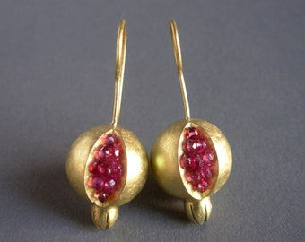 Pomegranate Earrings - 18K Gold Tourmaline Earrings - Artisan Handmade Earrings - Pomegranate Gold Earrings - gold pomegranate jewelry