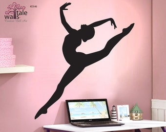 Gymnastics wall decal with beautiful girl silhouette decal. Gymnastics  decals.Sports wall decals. d546