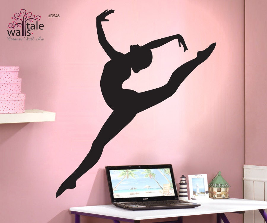 Gymnastics wall decal with beautiful girl silhouette decal for Gymnastics wall decals