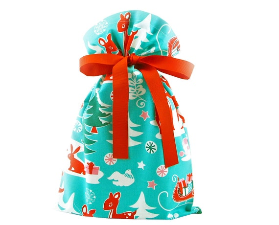 On sale retro aqua blue christmas gift bag with by vzwraps