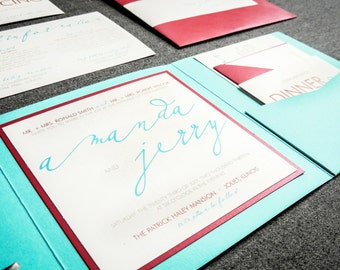 """Retro Party Invitations, Calligraphy Wedding Invites, Turquoise Birthday Party, Red Wedding Invitation Suite - """"Modern Calligraphy"""" PF-1L-v2"""