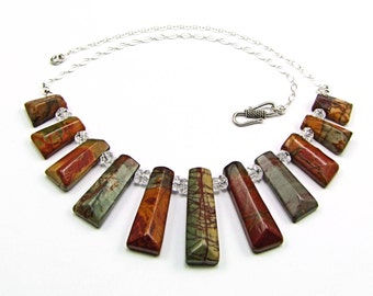 Multicolor Picasso Jasper Sterling Silver Necklace - N688B