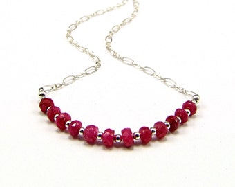 Natural Faceted Ruby & Sterling Silver Micro Necklace - N710