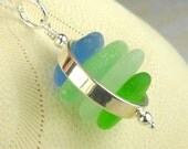 Eco Friendly GENUINE Sea Glass Jewelry In Sterling Silver Circle Necklace