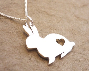 Bunny Rabbit with Heart Pendant handmade in sterling silver
