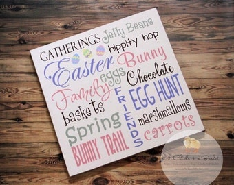 Easter Typography Wood Primitive Sign
