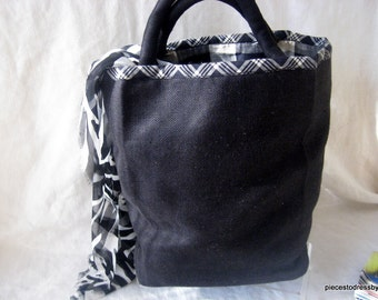 Black, Medium, Tote, Linen, Black And White Trim, Fun, Satin Lining, Inside Pockets, Party, Luncheon