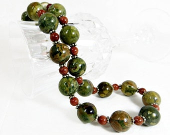 Green Rhyolite and Goldstone Necklace