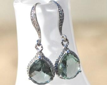 Grey Bridesmaid Blue Saphire Gray Brown Smoky Earrings Briolette Framed Glass Rhinestone, Set of 2, 3, 4, 5, 6, 7, 8, 9, 10, 11, 12
