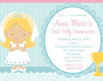 First Holy Communion Invitation -- religious invitation