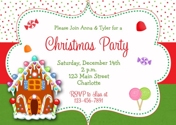 Gingerbread house Christmas party invitation Christmas – Gingerbread Party Invitations