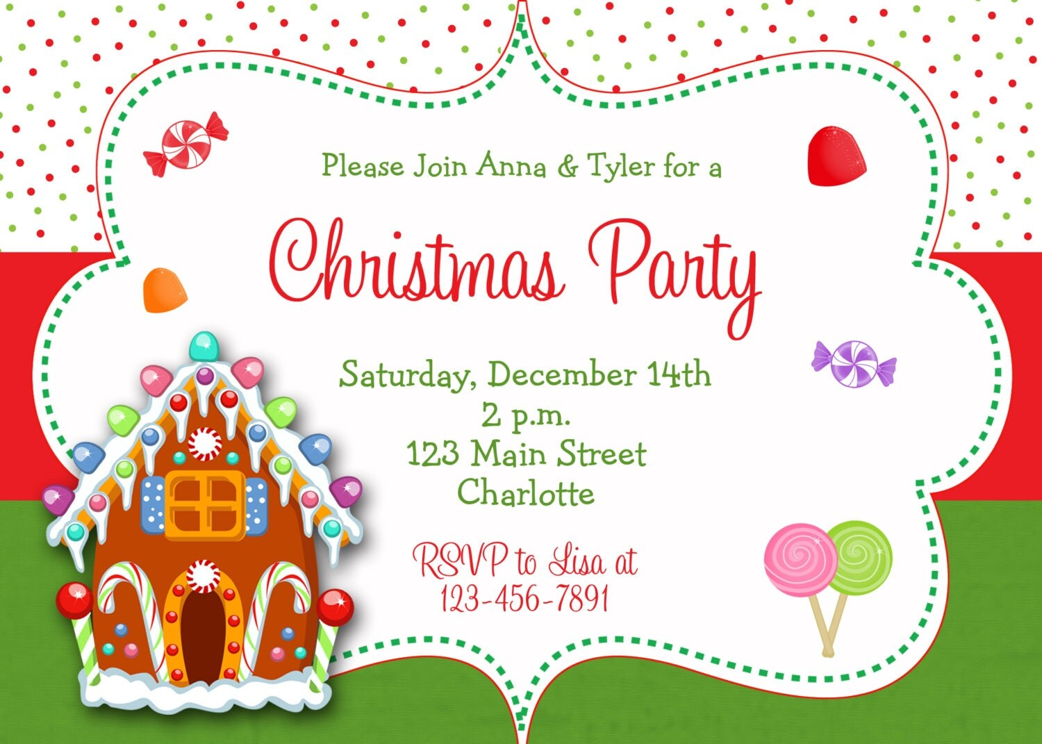 Gingerbread House Decorating Party or Cookie Exchange Invitation ...
