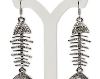Gunmetal Smoke Crystal Fish Skeleton Earrings
