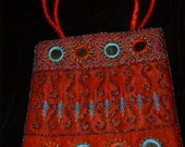 Red Satin Purse with Mirrors and Beading Ethnic Tribal