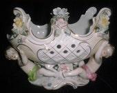 Vintage Antique ROCOCO Porcelain Bowl Dish w Cherubs and Flowers