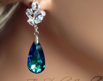 Bermuda Blue Bridesmaid Jewelry Earrings - Swarovski Pear Shaped Stones available in other colors