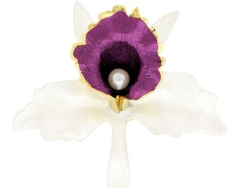 White Purple Orchid Flower Brooch Pin 1011911