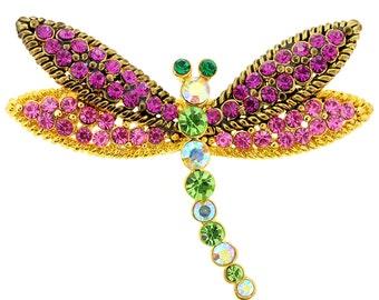 Multicolor Dragonfly Crystal Pin Brooch 1010062