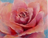 PINK ROSE original oil painting 6x6x1inch gallery wrapped canvas