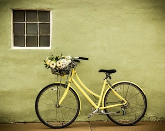 Bike Photography , Summer Bike Photography, Still Life, Cottage Chic, Country, Mint Green, Yellow, Bike and Flowers, Country, Chik,