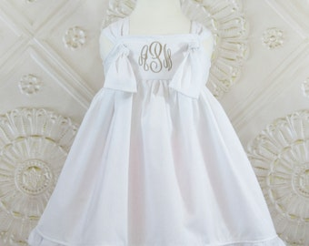 White Knot Dress, Monogrammed Dress, Wedding Dress, Flower Girl Dress, Beach Dress, Toddler Girls Dress, Baby Girl, Baptism Dress