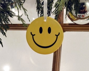 Yellow Smiley Face Christmas Tree Happy Hanging Ceramic Ornament