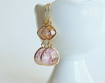 Peach champagne and pink glass gold two stone dangle earrings.  Bridal earrings.  Bridesmaids earrings.  Wedding jewelry.