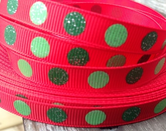 Red with Green Dot Grosgrain Ribbon 3/8 Inch 9mm - 5 yards
