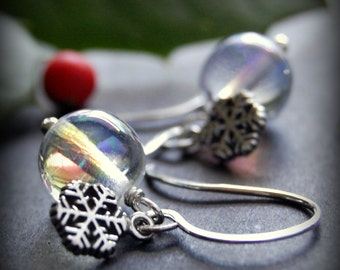 CLEARANCE / SALE - Glass Snowflake Earrings, Sterling Silver Snowflake Charm, Aurora Borealis Clear Round Glass Drop, Holiday Jewelry
